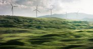 eolic wind tourbines in a green landscape